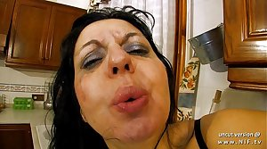 Horny french milf sodomized and double plugged with greengrocery in the kitchen