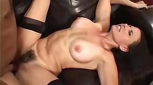 Girder fucks a sexy deadly haired MILF with an increment of ejaculates on their way face