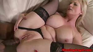 Mature flaxen-haired assfucked at the end of one's tether black meat