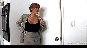 HOT big-tit redhead MILF slut saleswoman fucks client's hard-dick