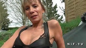 Big boobed french cougar hard anal fucked by a young person