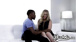 Cougar Julia Ann stretched hither interracial banging
