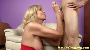 Blondge cougar mom wanking his cock