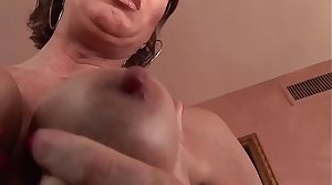 Marketable milf masturbates before sucking a big black cock