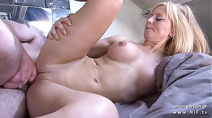 Amateur busty french mom screwed and sodomized not far from cum on body by her neighbor