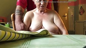 76 year aged jocular mater relative to law,nice tits