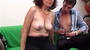 Brunette Muted Pussy Mature Couch Fucked Young Cock