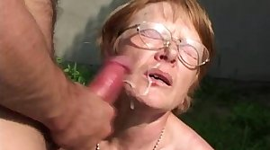 Granny Relative to Glasses Face Showere Connected with Cum