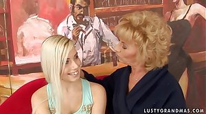 Granny Margarette Having Some Lesbian Sex with a younger chick