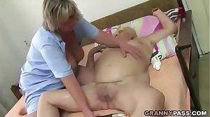 Fat Granny Has Triumvirate Coition