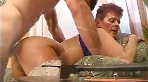 Granny getting drilled up her pussy