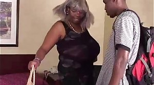 BBW Black Granny Has Big Gut