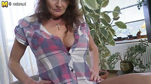 Big breasted granny getting wet with an increment of unrestrained