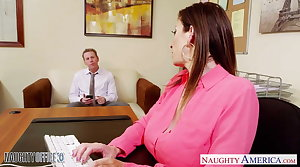 Brunette milf Sara Jay making out in dramatize expunge office