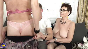 Two mature moms fuck lucky son