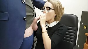 Cute slot secretary sucks off her boss and swallows his sperm before downward home to her husband