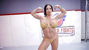 London River fighting Brandi Mae in ginger beer wrestling with face sitting and a hard strapon fuck